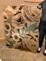 Large floral art on canvas measures 3' W x 4' H
