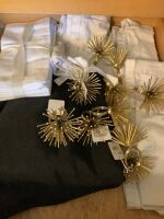Pier 1 linen napkins and 8 starburst napkin rings, holiday decor and many glass and plastic serving trays