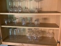 Lot of assorted glass stemware and pint glasses, chalk front cookie jar