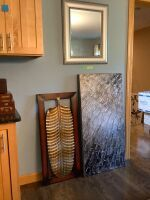 "Lot of artwork and mirror - Mirror measures 23""W x 26""H, leaf measures 16""W x 40""H, abstract piece measures 2'W x 4'H"