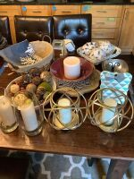 If you like modern home decor this lot is for you: globe style candle holders, serving bowls, baskets, aromatherapy diffuser, glassware and more