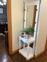 "White painted hall tree measures 30"" H x 23"" W decor included as well"