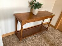 "Modern oak hallway table with decor - table measures 50"" L x 16"" W x 27"" H"