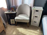 3-drawer wicker bedside table DeGrazia cross stitch art, modern sitting chair, leather topped stool and Route 66 art
