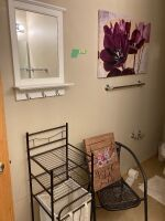 "Bathroom remodel in mind? Here's your lot! White mirror with hooks (17""x28""), purple floral art (2'x3'), laundry hamper with so the, plicker chair, wood art (15""x19"")"