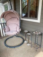 Hanging papasan style chair and outdoor decor items