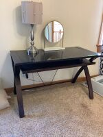 "Bayside Furniture modern glass topped desk with pullout keyboard tray - desk measures 4' L x 2' W x 30"" H. Desk lamp and mirror with marble base are also included."