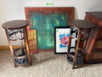 "Nice group of abstract wall art (3' x 3', 10"" x 20"", fish - 18"" x 22"") and two side table that stand 30"" H."