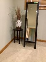 "Foldable floor  mirror and side table with vase - mirror measures 62"" H x 17.5"" W"
