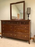 Stanley Furniture 9-drawer dresser with lamp, matches lots 10005,10006,10008