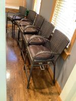 "5 matching barstools with arms, seat height 24"", arm height 31.5"", back height 39"""