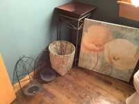 Bathroom lot: art, glass topped plant stand with tray, two candle holder wall sconces
