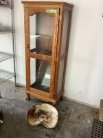 "Oak 3-shelf cabinet measures 5' H x 23"" L x 14"" W and tractor seat."