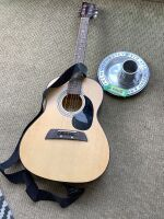 First Act Adam Levine guitar with pewter stamped mug and plate