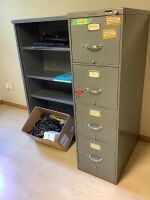 "Cords, keyboards, electronics, Steelcase 5-drawer filing cabinet and matching shelf - shelf measures 37.5"" L x 15"" W x 52.5"" H"
