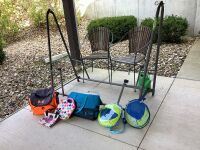 Hammock stand, two outdoor chairs, springflop chairs, under armor hard side cooler, soft side coolers