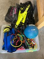 8 pound medicine ball, Body Rock duffel bag, jump ropes, wrist and ankle weights, exercise floor ladder