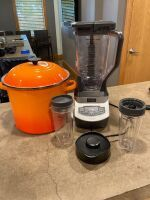 Kitchen items including very nice orange Le Creuset stock pot, Ninja blender and miscellaneous