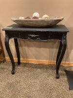 "Entryway table, table decor and wall art (art measures 25"" W x 31"" H measures 2' L x 1' W x 31"" H"