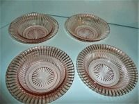 LOT OF 4 VINTAGE QUEEN MARY PINK DEPRESSION GLASS BOWLS