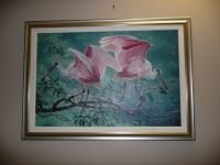 BEAUTIFUL ROSEATE SPOONBILLS PRINT ON CANVAS NUMBERS 17 OF 95 BY SEE SMITH