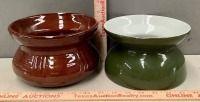 2 Vintage Glazed Pottery Cuspidors