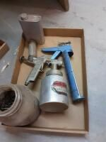 Small vise  Three Way Paint Sprayer  caulk gun  jar of hardware
