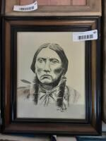 Original 11 x 13 Native American sketch by Joe little 1976