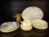 Clay mug  Eggshell Nautilus China  and misc plates