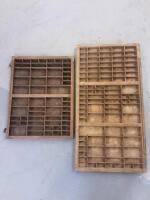 Vintage Printer Trays 32 x 16 5 x 1 75 and 21 75 x 16 5 x 1 25