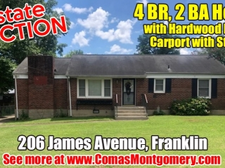 ESTATE AUCTION: 4 BR, 2 BA Home with Hardwood Floors - Carport with Storage