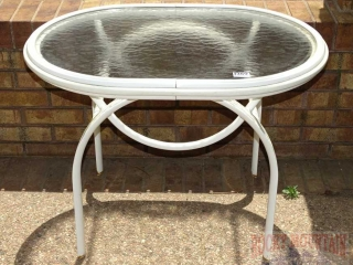 Glass Top Outdoor Cocktail Table.