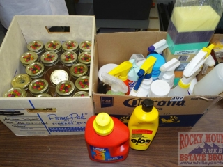 Asst. Cleaners, Sponges & Jelly Jars.