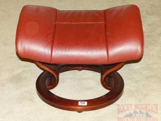 Ekornes Leather Ottoman w/ Classic Base.