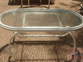 Glass Top Outdoor Coffee Table.