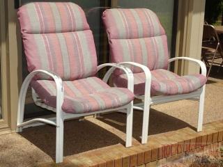 2 Patio Arm Chairs w/ Cushions.