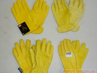 4 Pairs Leather Work Gloves, Small.