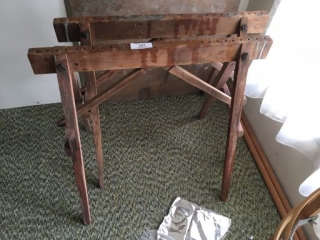 2 Primitive Wood Saw Horses, Quilt Hoop/Stand