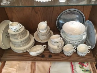 Contents of Bottom Shelf of China Cabinet