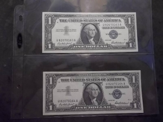 2-US Silver Certificates With Consecutive Numbers & Uncirculated, Crisp Condition 1957 Series