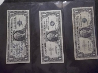 3-US Silver Certificates Series 1957 B & A