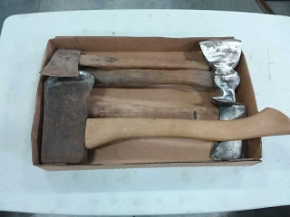 assortment of hatchets