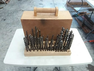 drill bit set with wooden case