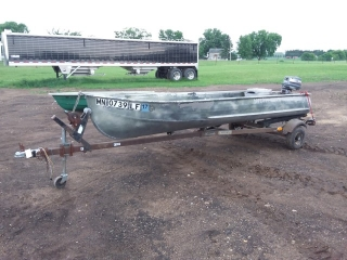 "1967 Sears 13' 7"" Aluminum Boat with trailer"