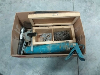assortment of nails, hand tools