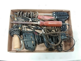 assortment of soldering guns and irons