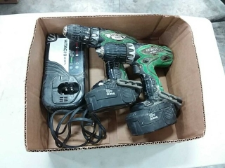 2 Hitachi cordless drills with charger 18v