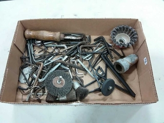 assortment of allen wrenches and wire wheels