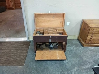 Wooden tool box with some tools