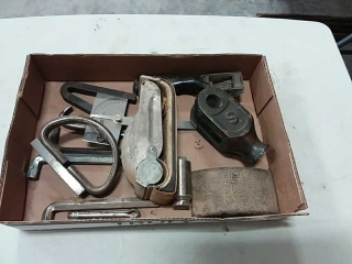 assortment of hand tools, sanders, allen wrenches